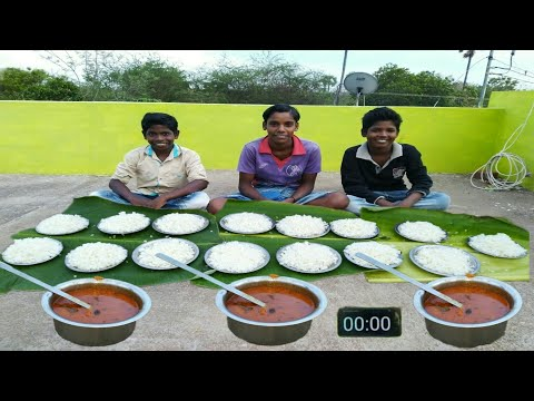 15 PLATE WHITE RICE | CHICKEN GRAVY I VILLAGE BOYS EATING CHALLENGE Village food Trends