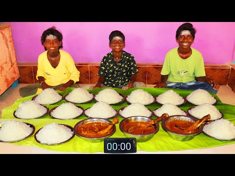 15 PLATE WHITE RICE | COUNTRY CHICKEN GRAVY | VILLAGE BOYS EATING CHALLENGE | FARMER COOKING