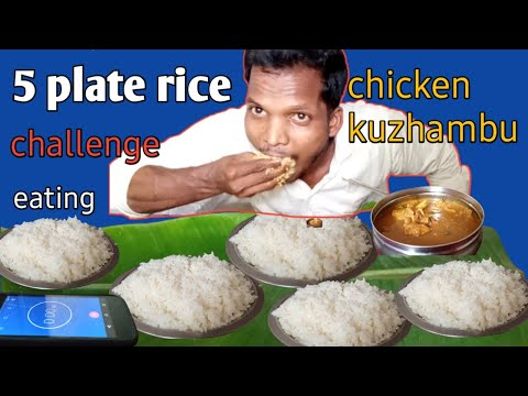 Record! 5 plate white rice & chicken Gravy|eating challenge|| in tamil| eating show.food eating
