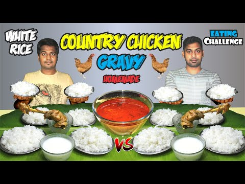 8 PLATE WHITE RICE & COUNTRY CHICKEN GRAVY EATING CHALLENGES HOMEMADE TAMIL FOOD COMPETITIONS INDIA 