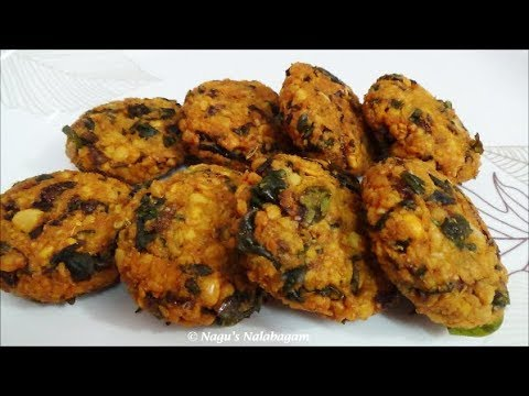 Vadai Recipe in Tamil - Keerai Vadai Recipe - Spinach Vada-  Spinach Fritters Recipe
