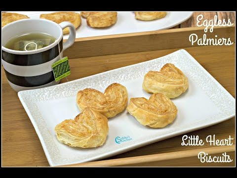 Eggless Palmiers | Little Hearts Biscuits